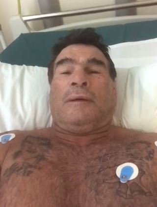 Doherty spoke to his fans from his hospital bed. Credit: Facebook/Paddy Doherty Site