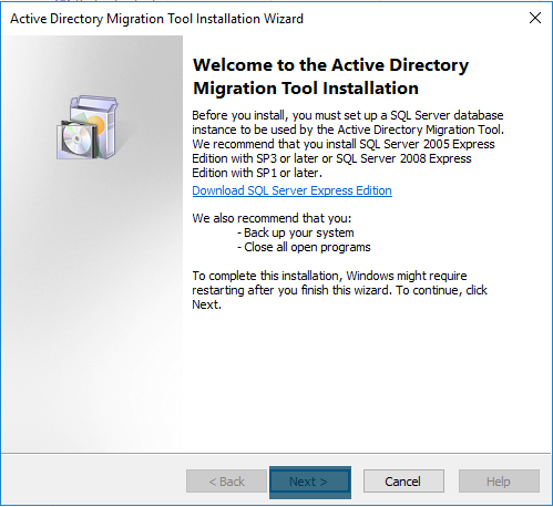Installing ADMt on Windows Server 2016