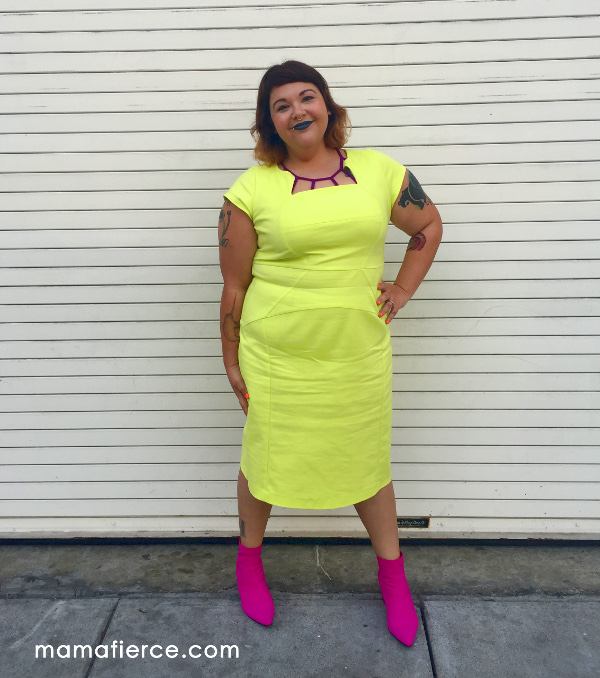 Erika sheath neon plus size dress