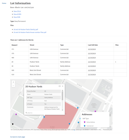 Screenshot of the tax lot information view. It shows the files attached (letter and images), useful links to ZOLA, ACRIS and DOB, and all address assignments and types on the lot.
