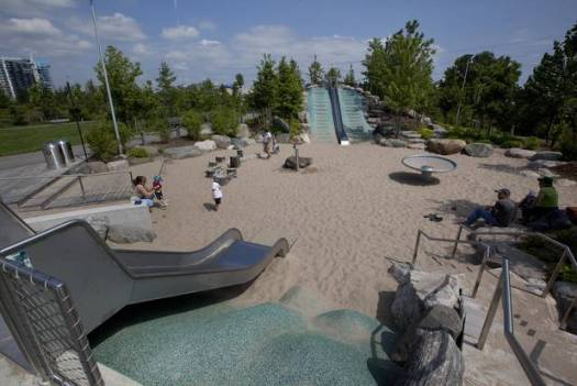 The Slide and sand play area at the Corktown Common Park in Toronto.