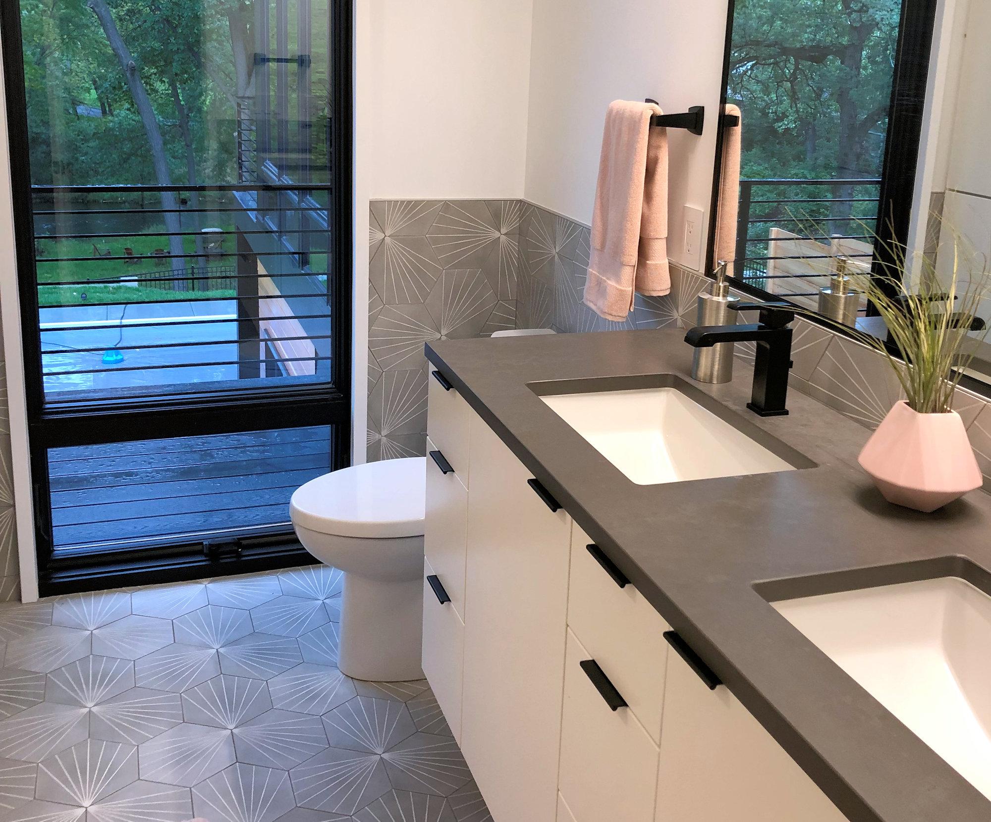 spark geometric hex cement tile