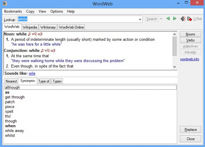 WordWeb 7 offers a universal dictionary thesaurus and spellchecker