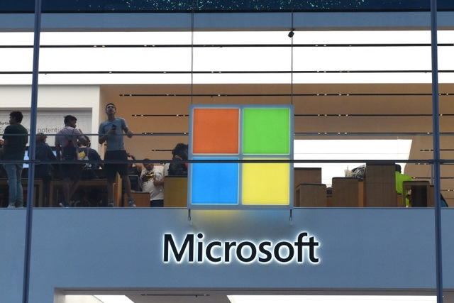 Microsoft glass building logo