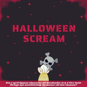 Texten Halloween Scream i blodrött ovanför en dödskalleprydd kanin