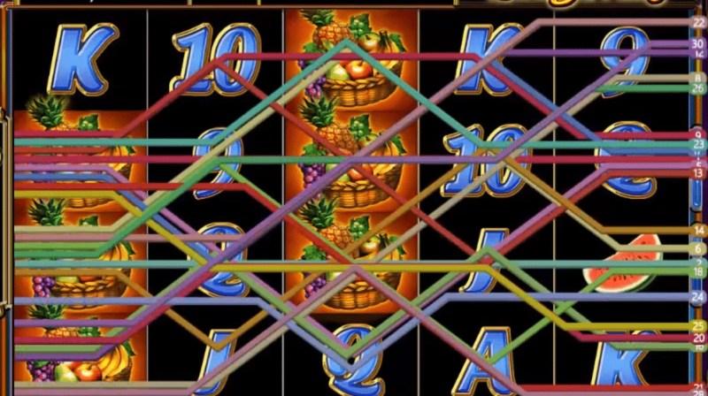 เส้นแสดงจำนวนเพย์ไลน์ในเกมสล็อต