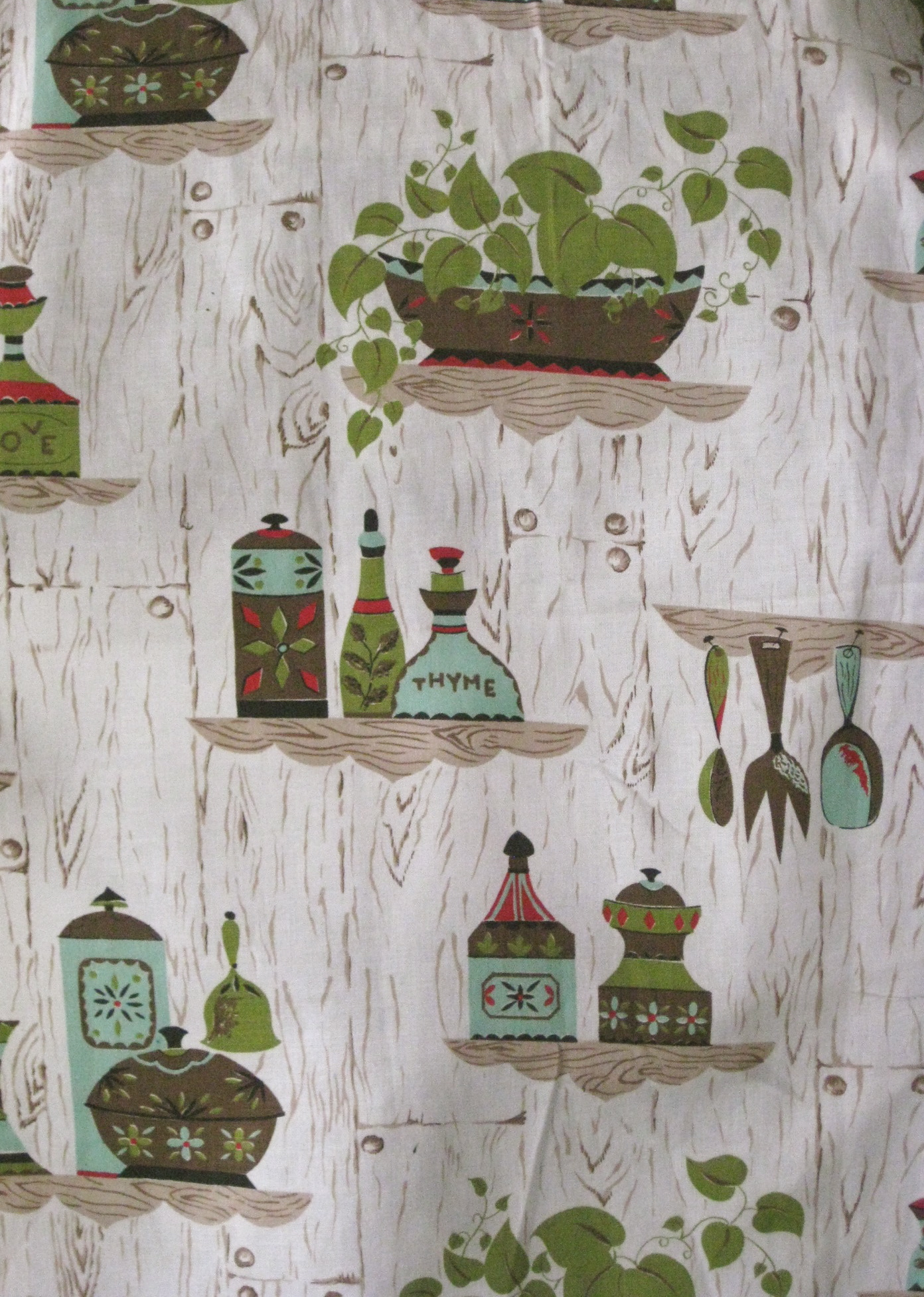 retro kitchen curtain fabric  Clothed in Scarlet