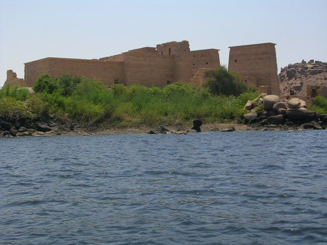 View of ruins across the Nile