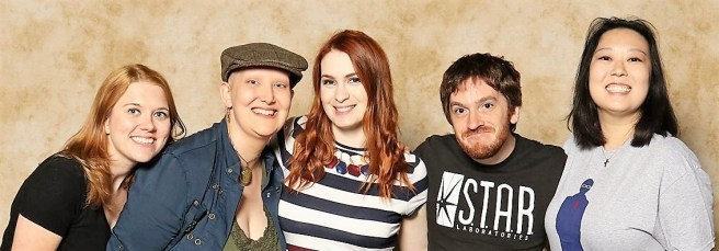 4 people including me standing with Felicia Day in the middle