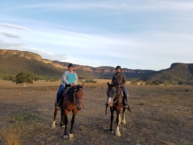 Bethany and Jarrod on horses in the Blue Mountains