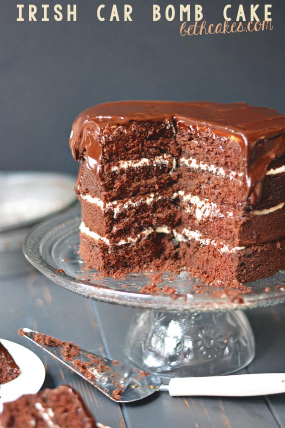 Irish Car Bomb Cake - four layers of Chocolate Guinness Cake with Bailey's Irish Cream Frosting and thick whiskey ganache. [bethcakes.com]