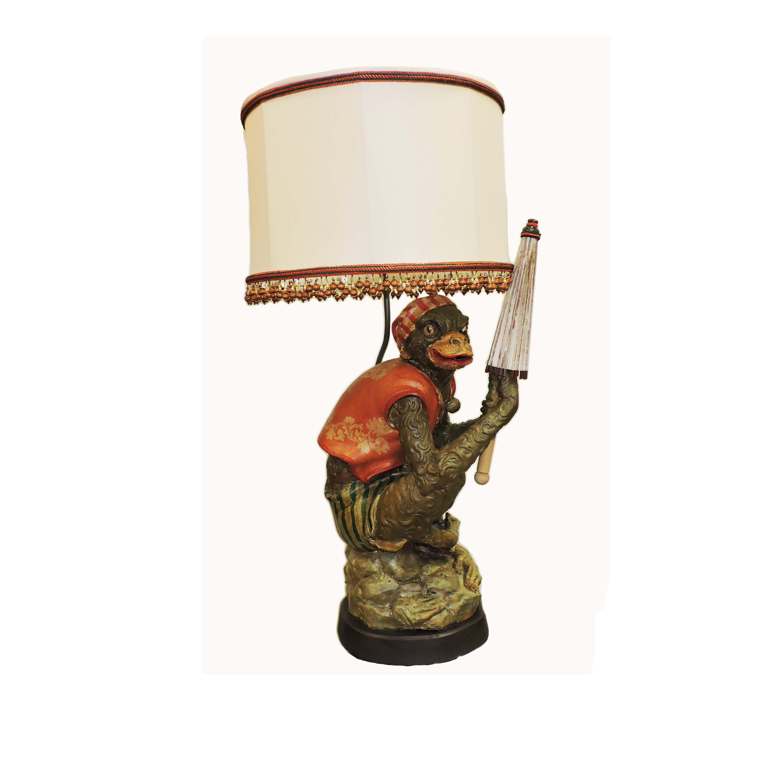 French monkey lamp - Antique Monkey Lamp