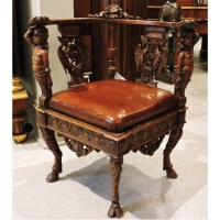 Carved Corner Chair - Beth Claybourn Interiors