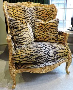 Tiger Print Wing Chair