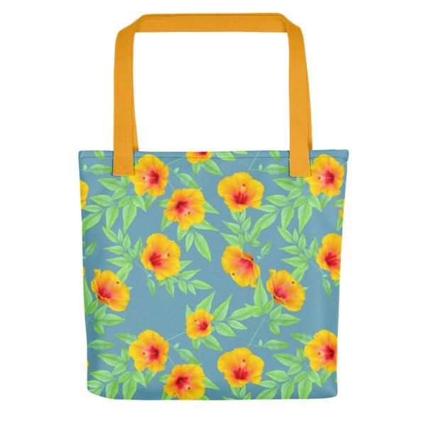 Hibiscus Print Tote Bag