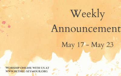 Weekly Announcements – May 17-23 2020