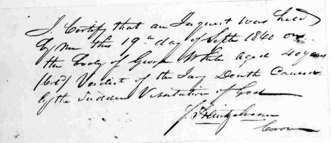 Forty-year-old George White died this date, September 19th
