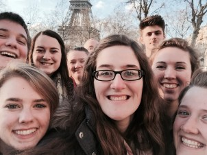Group selfie at the Eiffel Tower