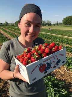 Sara found strawberries.