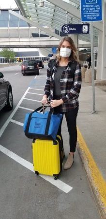 Kelley Steffens as she prepares for her first trip as an NMDP/Be The Match courier during COVID-19
