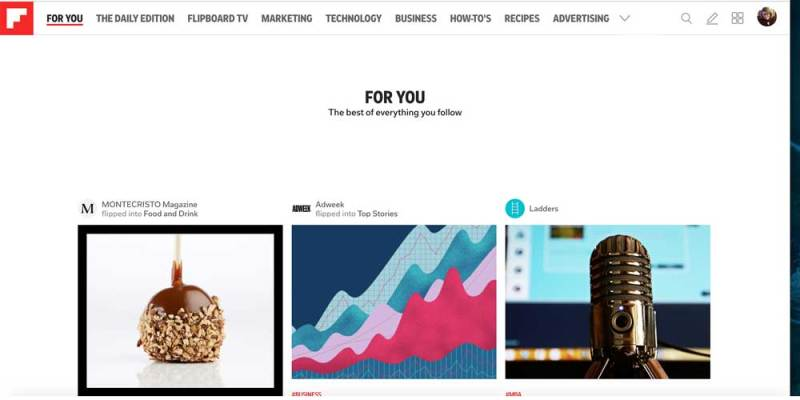 Flipboard For You page
