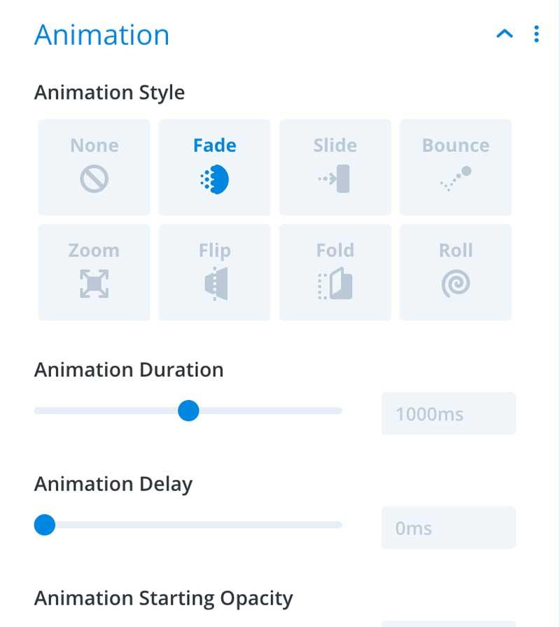 divi builder animation