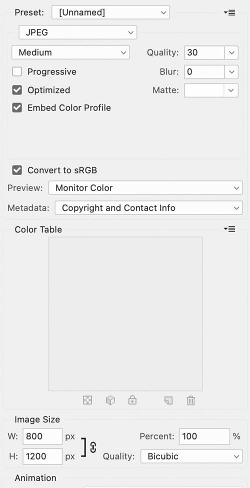 photoshop settings for maximum wordpress performance