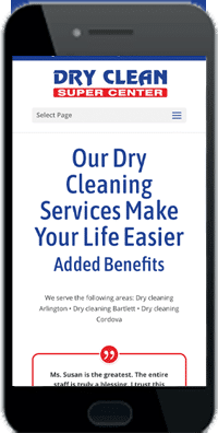 dry cleaner mobile website