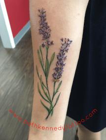 vintage botanical lavender sprig floral tattoo