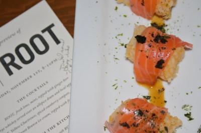 salmon nigiri, Root tea, Bitter Bar, Happy noodle house, Beth Partin's photos
