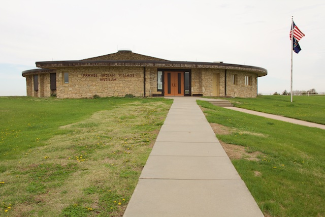 Pawnee Indian Village Museum from the front, Republic, Kansas, April 2015