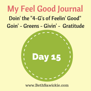 My Feel Good Journal - Day 15 http://www.BethSawickie.com