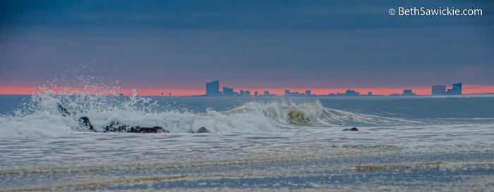 Atlantic City at Sunset from Long Beach Island by Beth Sawickie