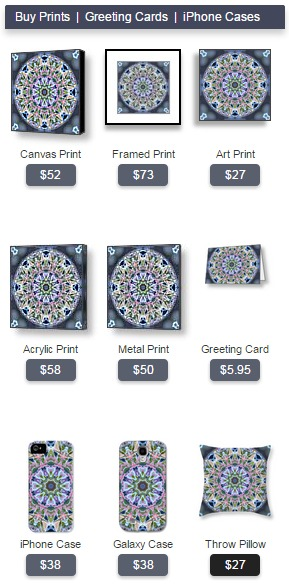 Buy prints and gifts featuring Christmastime Mandala 1 by Beth Sawickie
