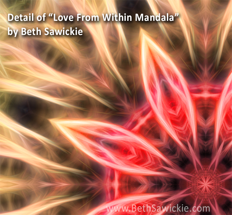 Detail from Love From Within Mandala by Beth Sawickie