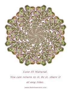 Love is natural mandala by Beth Sawickie