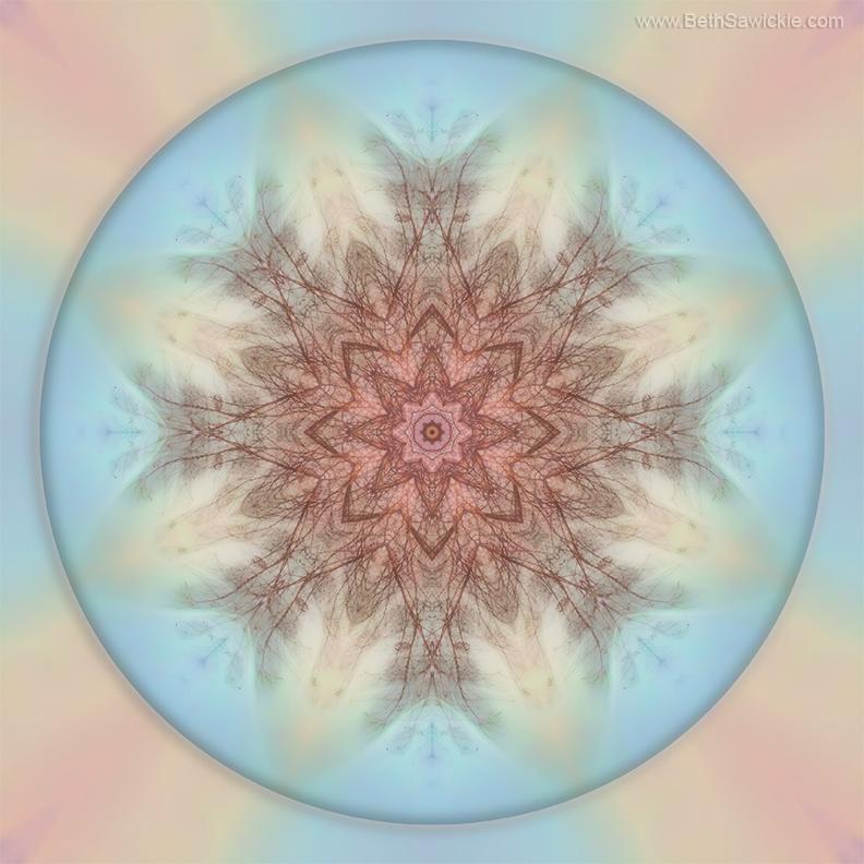 Pastel Sky Mandala by Beth Sawickie