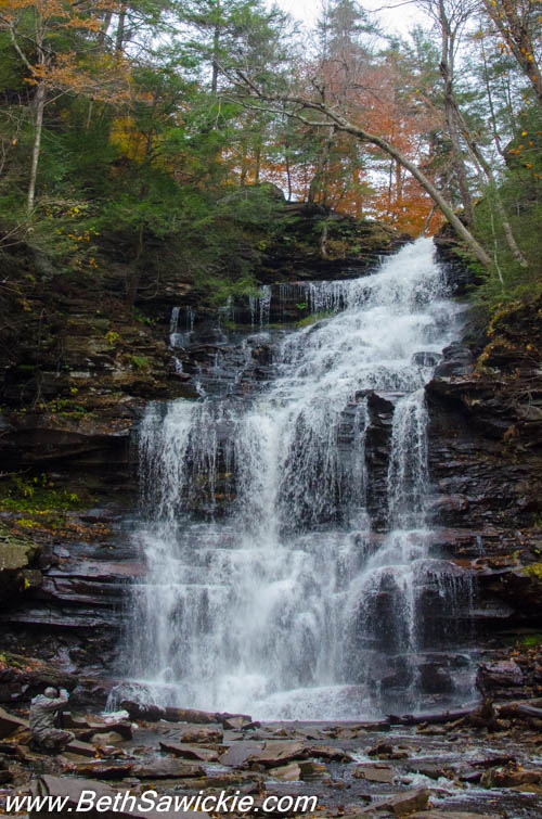 Doug at base of Mohican Falls at Ricketts Glen, PA by Beth Sawickie http://bethsawickie.com/our-ricketts-glen-adventure/