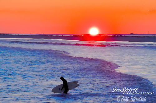 "Image by Beth Sawickie. ""Sullen Surfer at Sunset"" www.BethSawickie.com"
