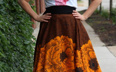 Small Half Circle Wrap Skirt – Orange Floral