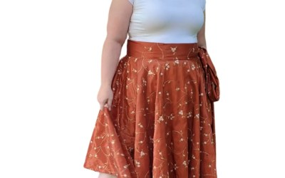Full Circle Wrap Skirt – Copper Embroidered Taffeta
