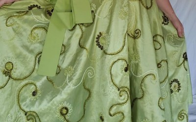 Large 3/4 Circle Tea Length Wrap Skirt – Green