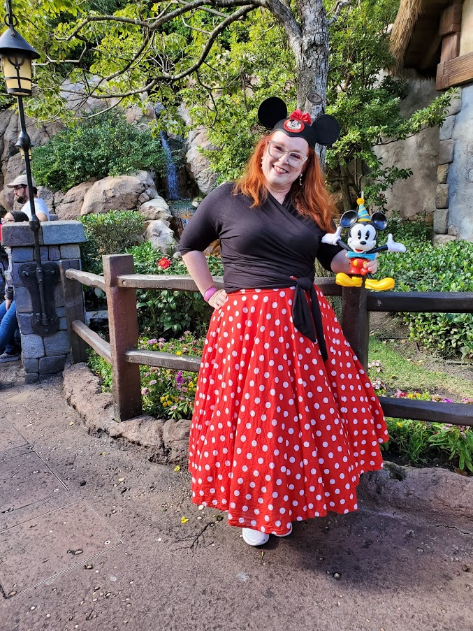 Full Circle teal length red and white polka dot skirt with black wrap top and mickey mouse ears