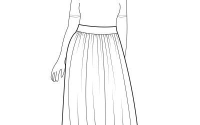 Midi Length Gathered Cotton Skirt