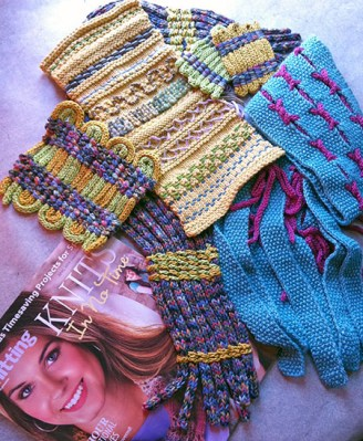 Embellished class homework swatch and sample patterns