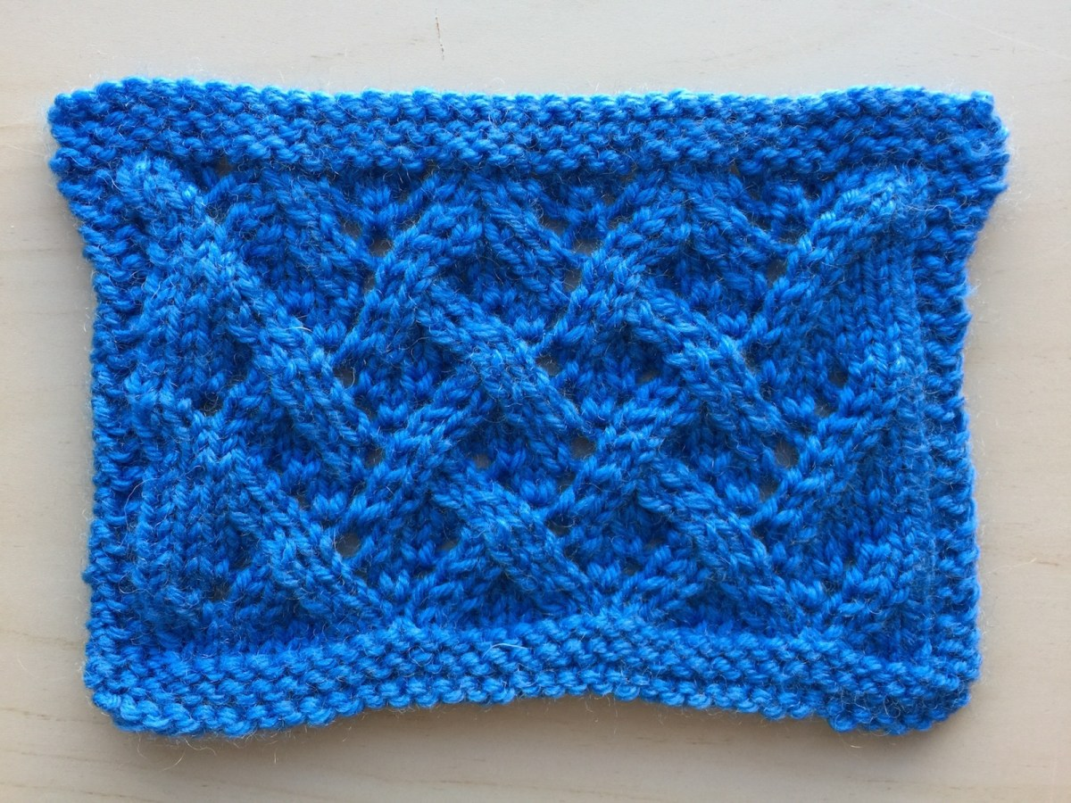 Swatch: Grapevine (mult of 8 sts +6; 12 rows)
