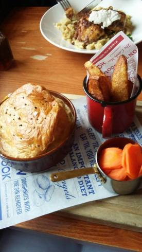 Mushroom, chestnut and shallot pie with buttery carrots and potato wedges