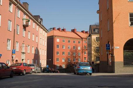 Röda bergen, Stockholm. Stadsplan av P.O. Hallman.