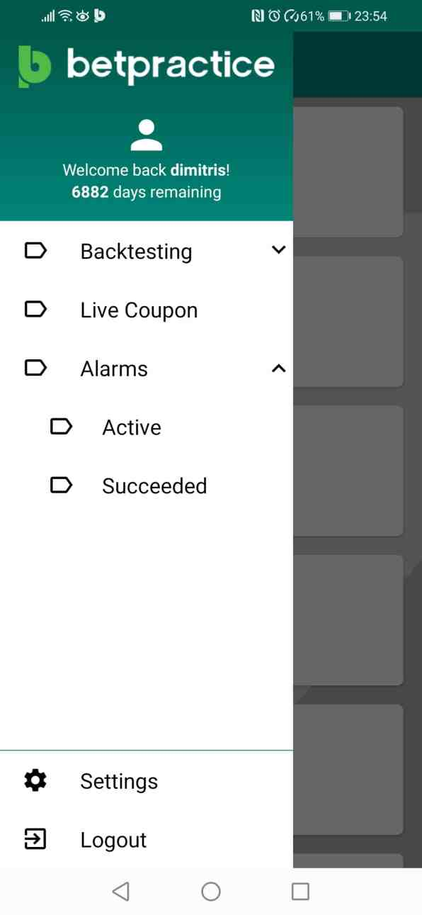 Betpractice Android App Succeeded Football Alarms Notifications how to guide Step 1