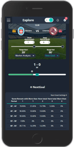 Betpractice Studio Live goals predictions tool sample interface mobile web